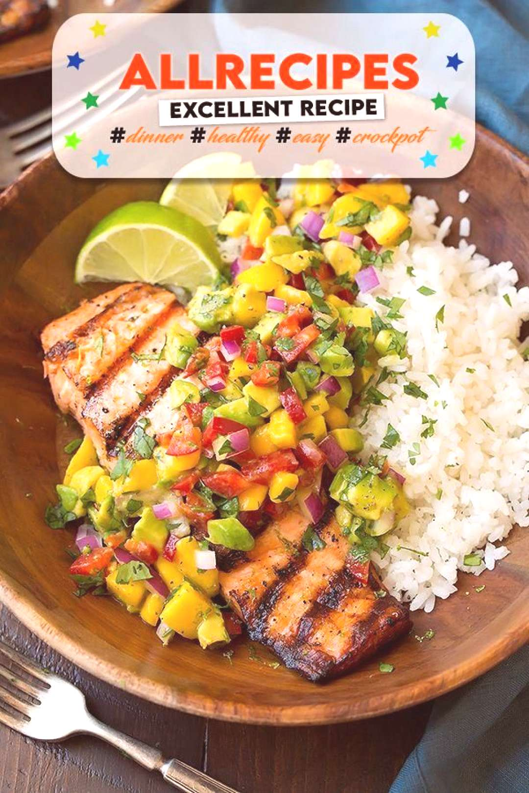 Grilled Salmon with Mango Salsa & Coconut Rice - Cooking Classy - - Hühnchen, Reis, Mango Salsa: K