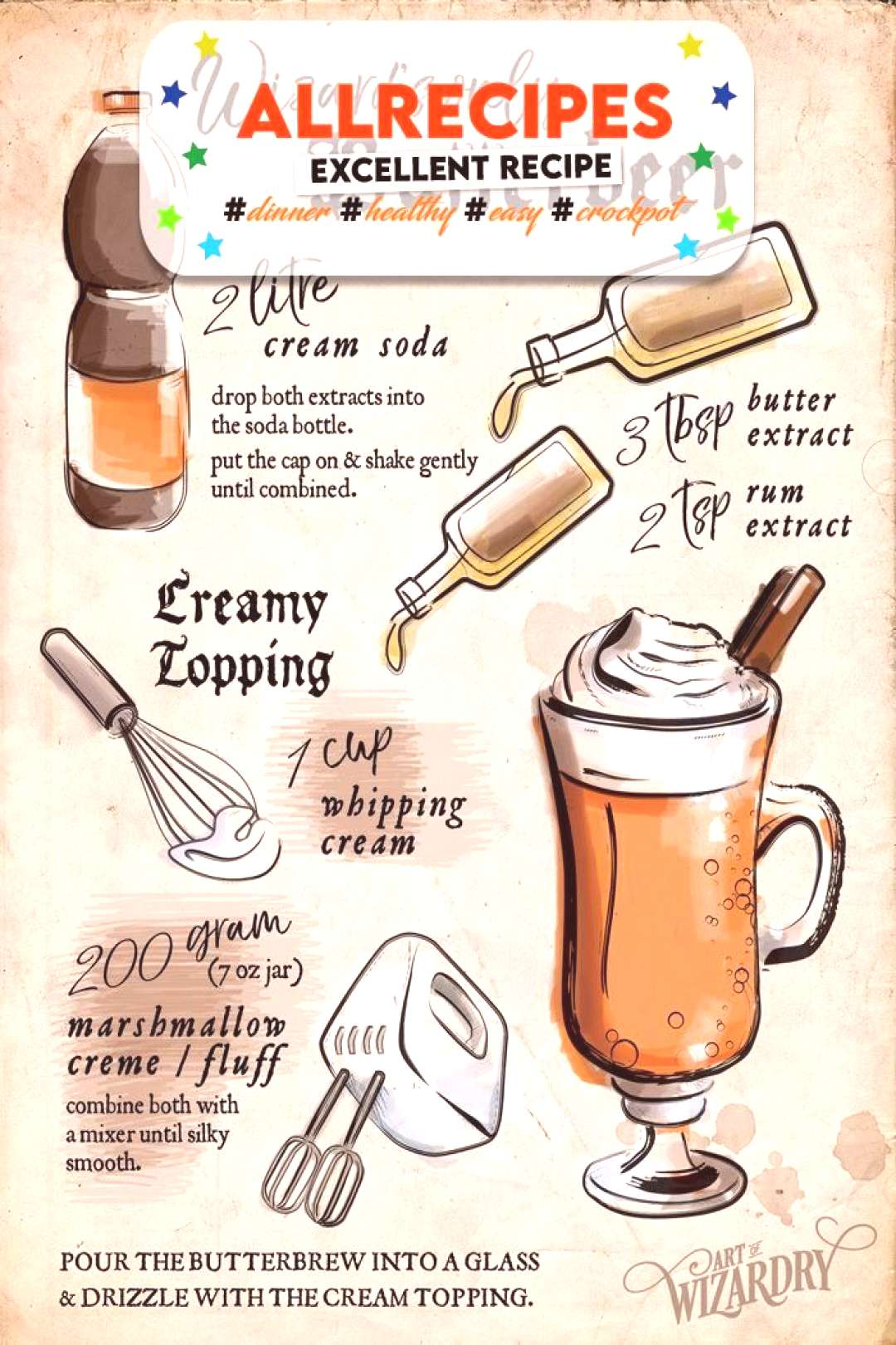 Harry Potter butterbeer illustrated recipe | Art of Wizardry - - Harry Potter butterbeer illustrate