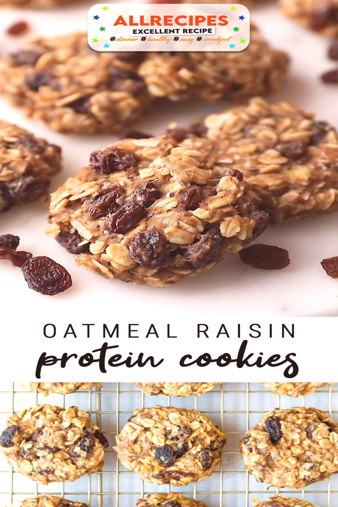 Healthy Oatmeal Raisin Protein Cookies | Easy Vegan Recipe - - Made without any processed sugar or