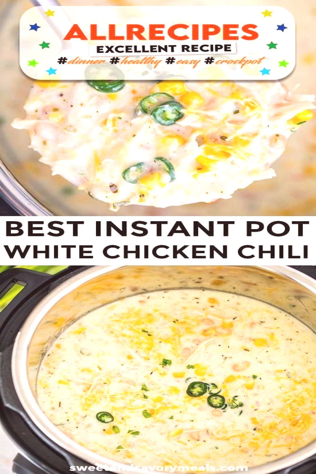 Instant Pot White Chicken Chili  - Sweet and Savory Meals - - Instant Pot White Chicken Chili is on