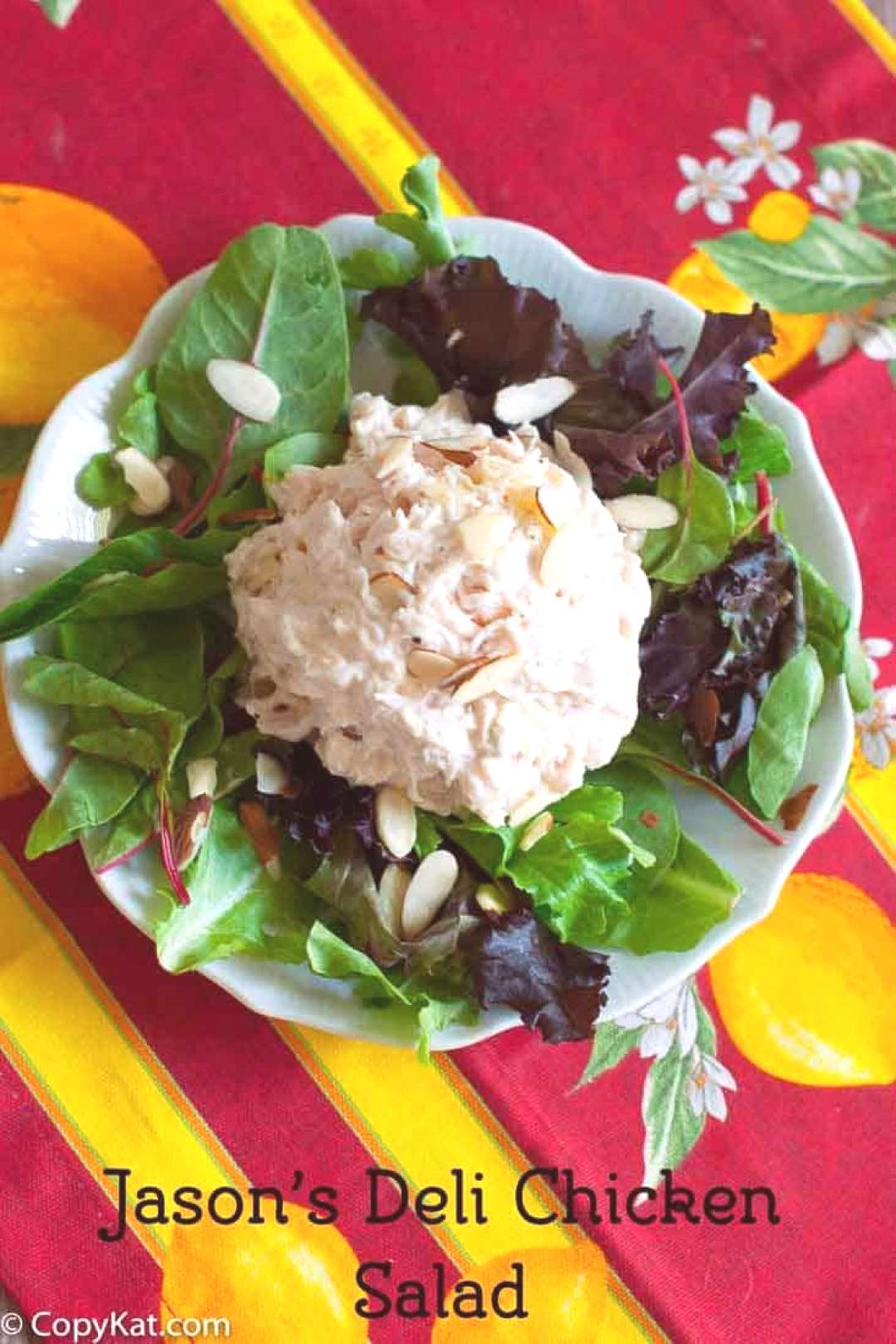 Jason's Deli Chicken Salad has sweet pineapple and crunchy almonds. Make it at home with this easy