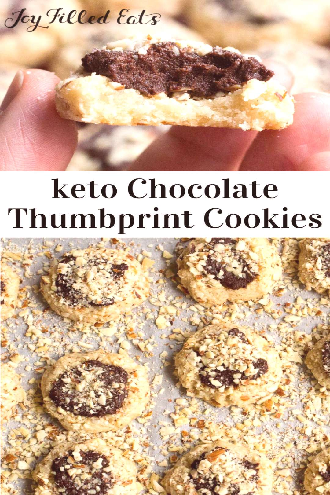 Keto Almond Crunch Chocolate Thumbprint Cookies - Low Carb, Sugar & Grain Free, THM S. These melt i