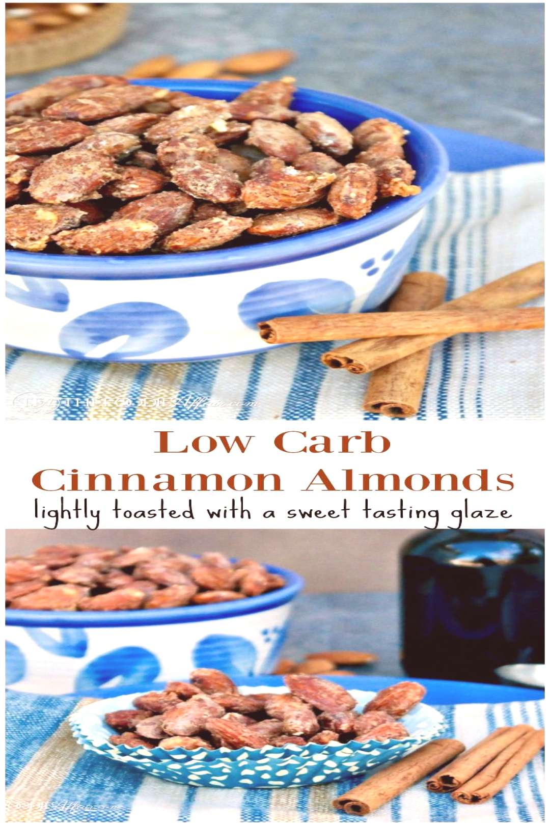 Low Carb Cinnamon Almonds lightly toasted with a sweet tasting glaze. This snack is a great afterno