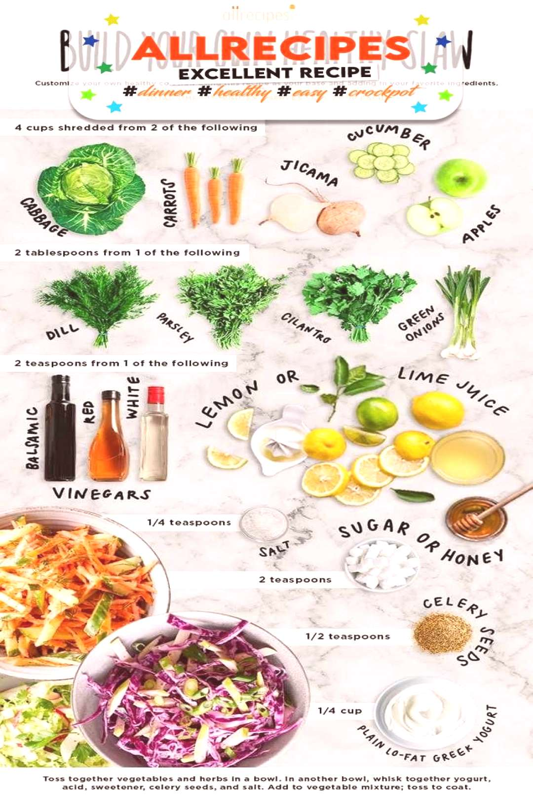 Make 3 Healthy Slaws From 1 Basic Recipe - - How to Make Cole Slaw |