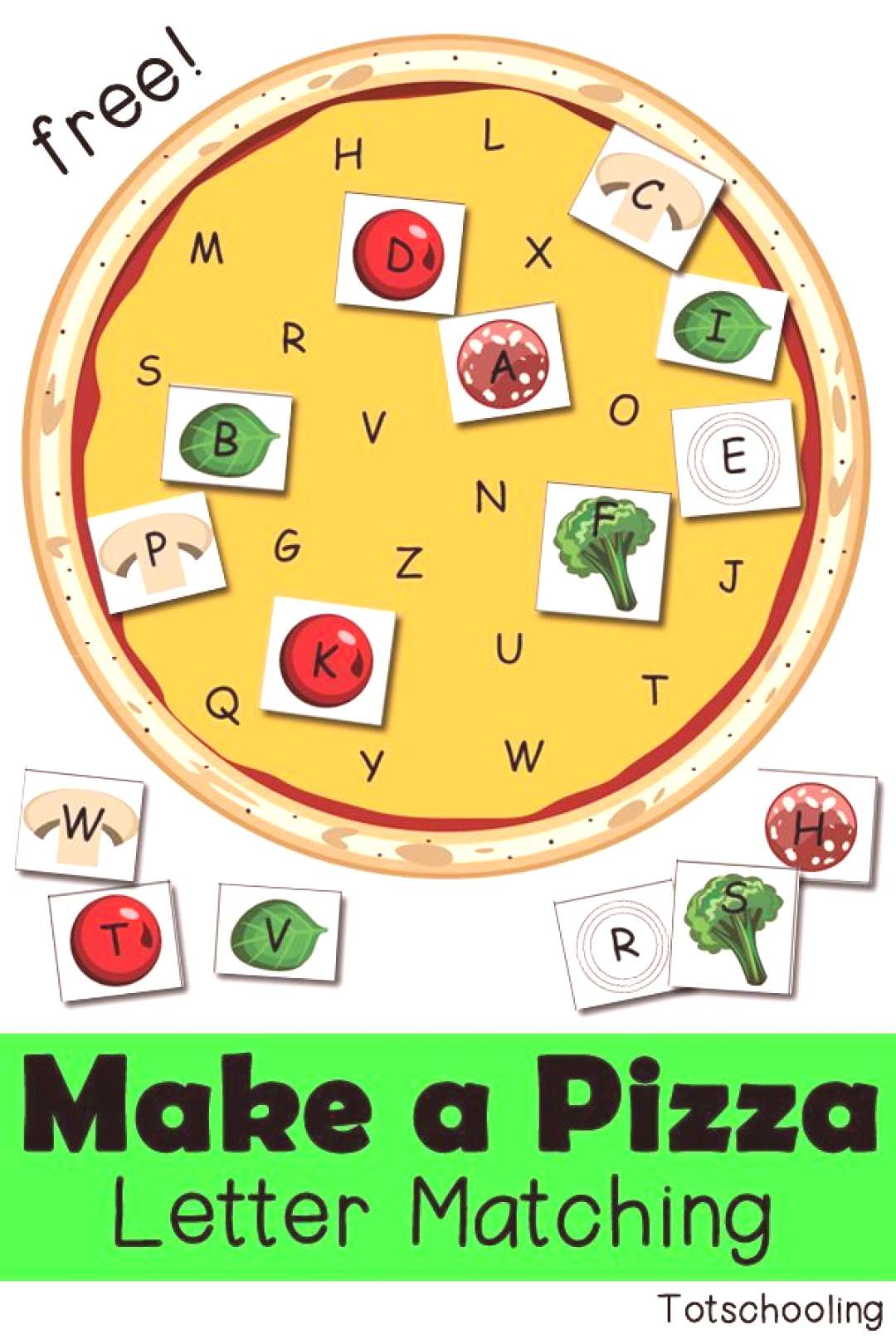 Make a Pizza: Free Letter Matching Activity Kinder Abc, Letter Activities, Learning Activities, Act