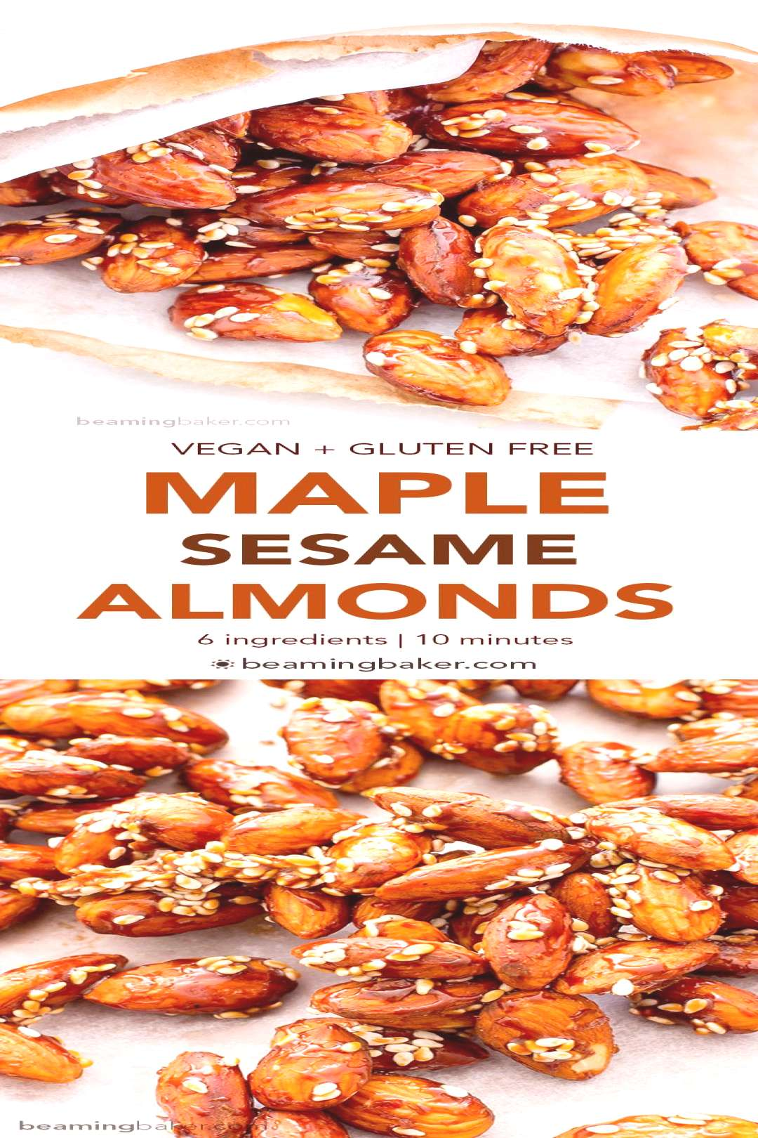 Maple Sesame Almonds (Vegan, Gluten Free) - Beaming Baker -  Maple Sesame Almonds (Vegan, Gluten Fr