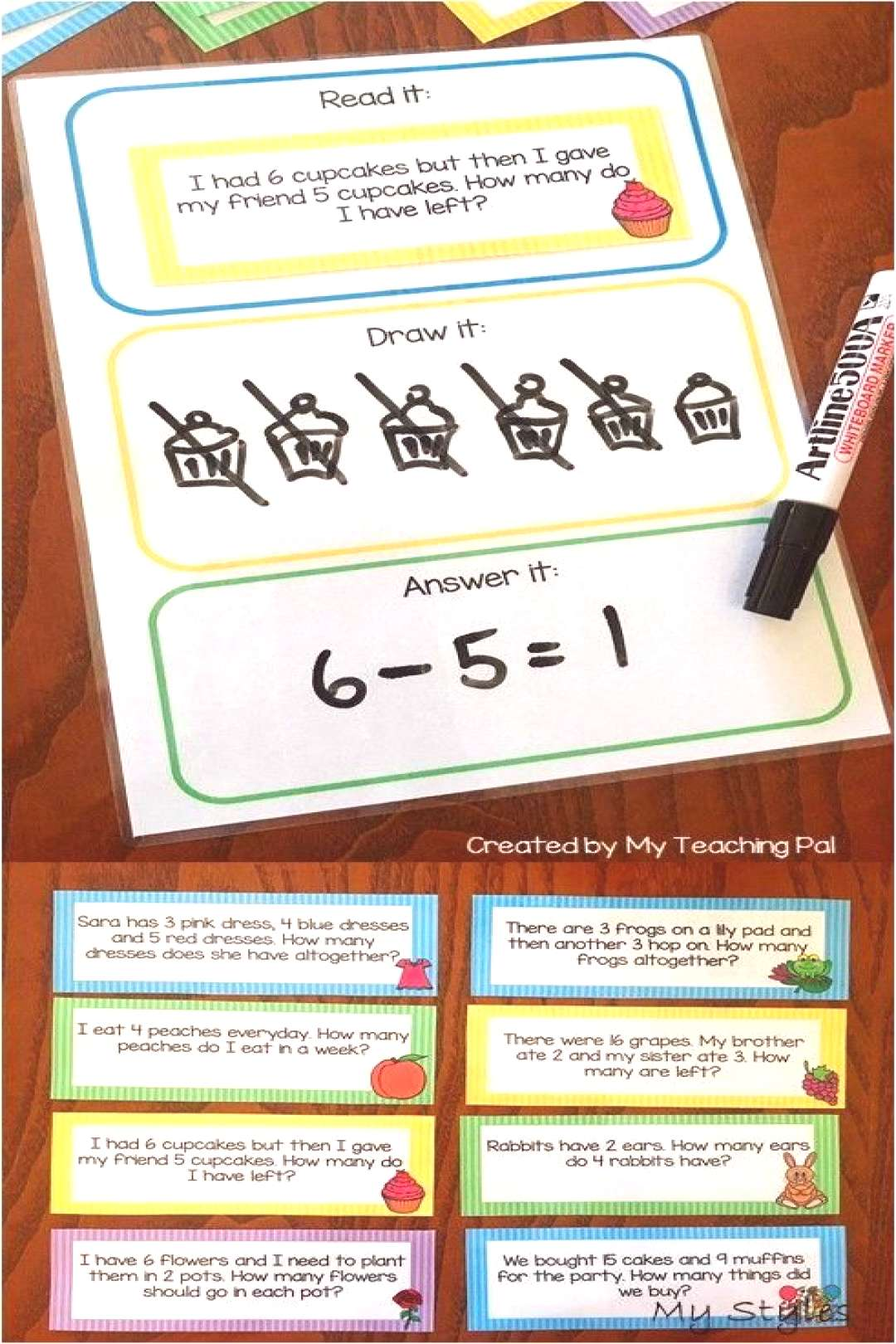Math Word Problem Task Cards. Includes 80 different addition, subtraction, multi-