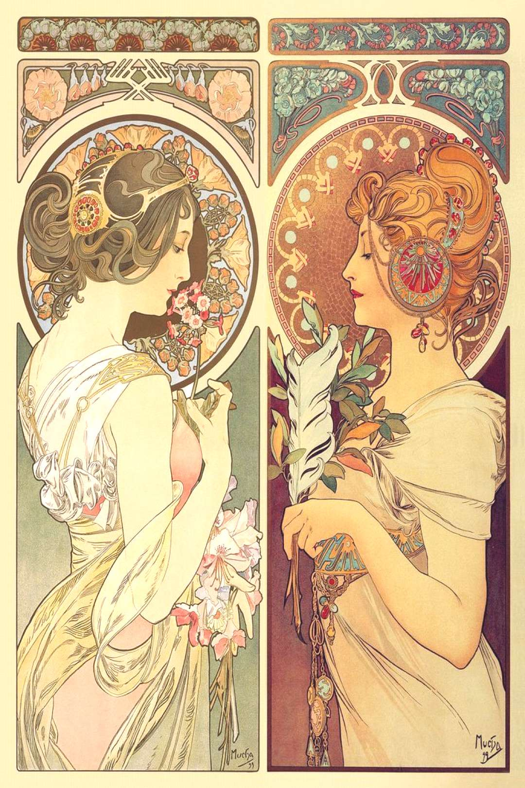 Mucha's Feather & Cowslip makes a great jigsaw puzzle gift for contemporary art enthusiasts. Source