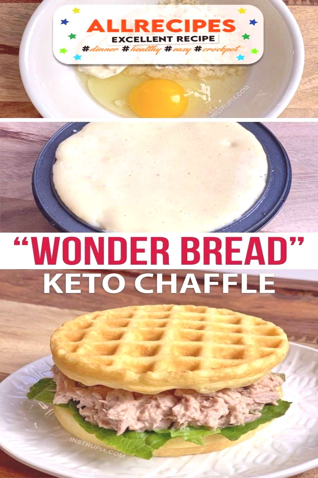 New & Improved Soft White Bread Chaffles (Easy KETO Sandwich Bread!) Made with Almond Flour. - - Lo