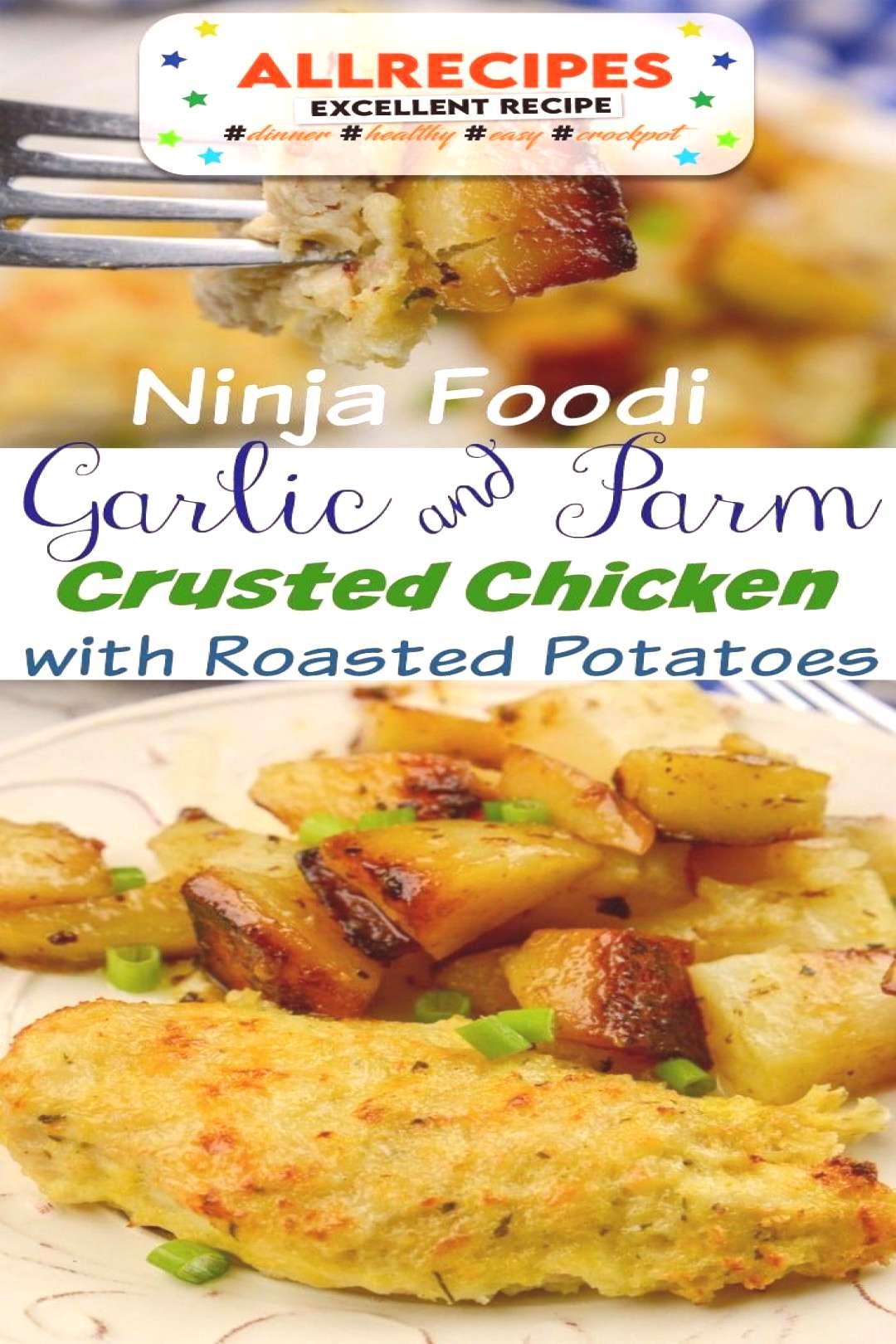 Ninja Foodi Garlic and Parm Crusted Chicken with Roasted Potatoes - - Ninja Foodi Garlic and Parm C