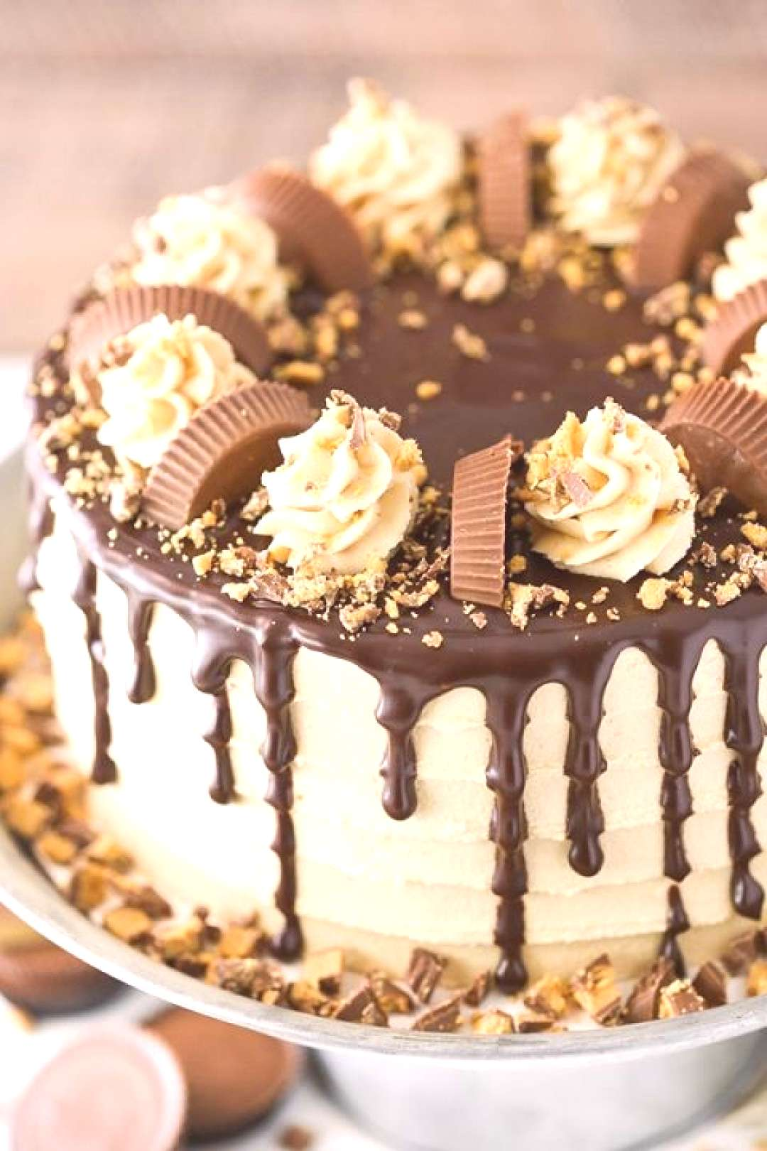 Peanut Butter Chocolate Layer Cake + Reese's Cups! -  Peanut Butter Chocolate Layer Cake – filled