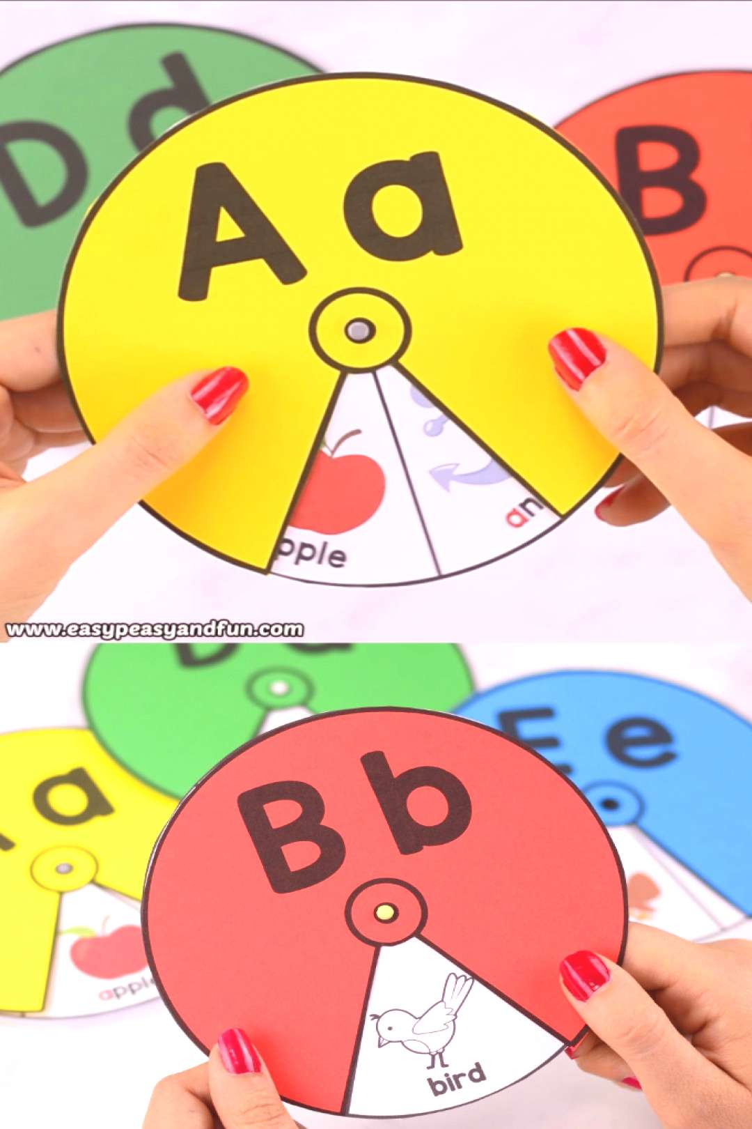 Printable Alphabet Spinners - fun alphabet activity for kids