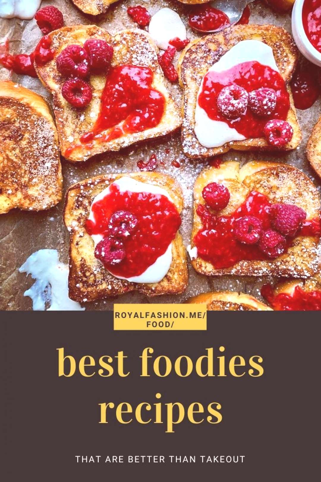 Raspberry French Toast with Raspberry Sauce and Sweetened Whipped Ricotta