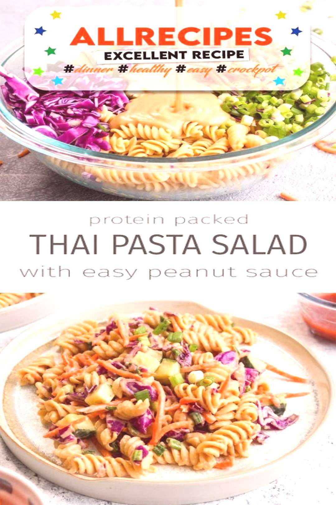 Salads Protein Packed Thai Pasta Salad this vegan, gluten free, and grain free dish is made w... -