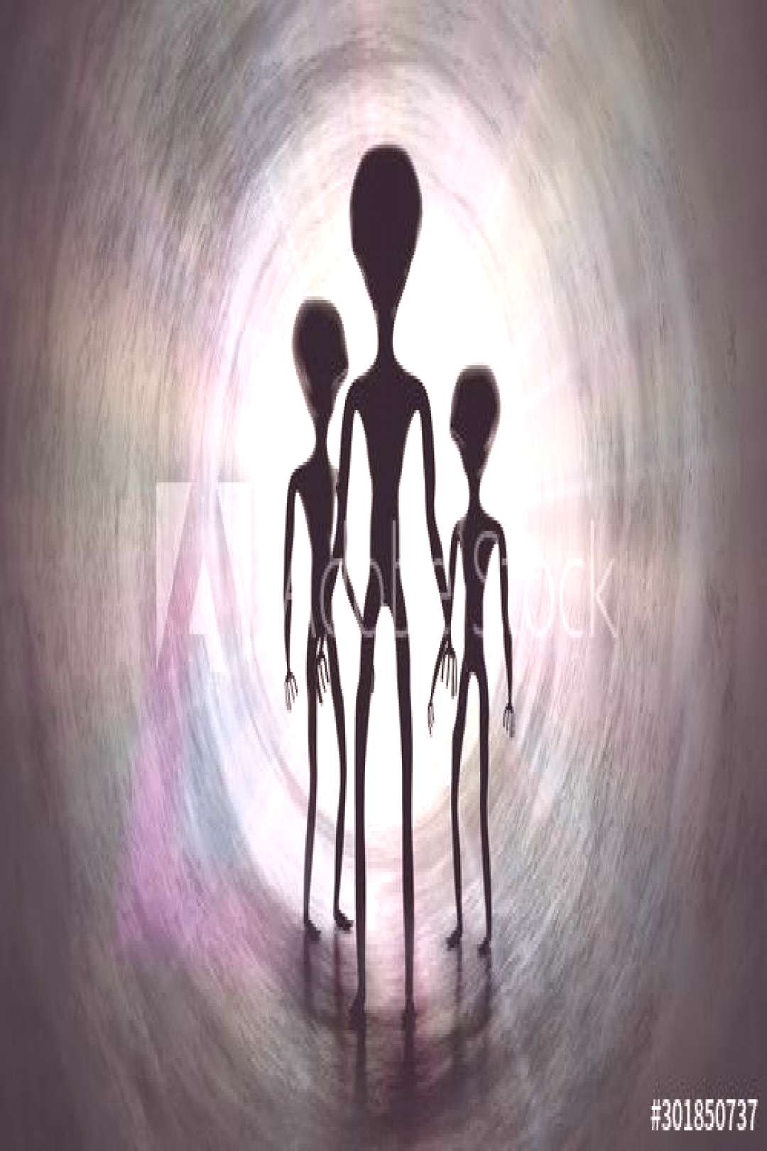 Silhouettes of creepy aliens and bright light in tunnel. 3D rendered illustration. ,