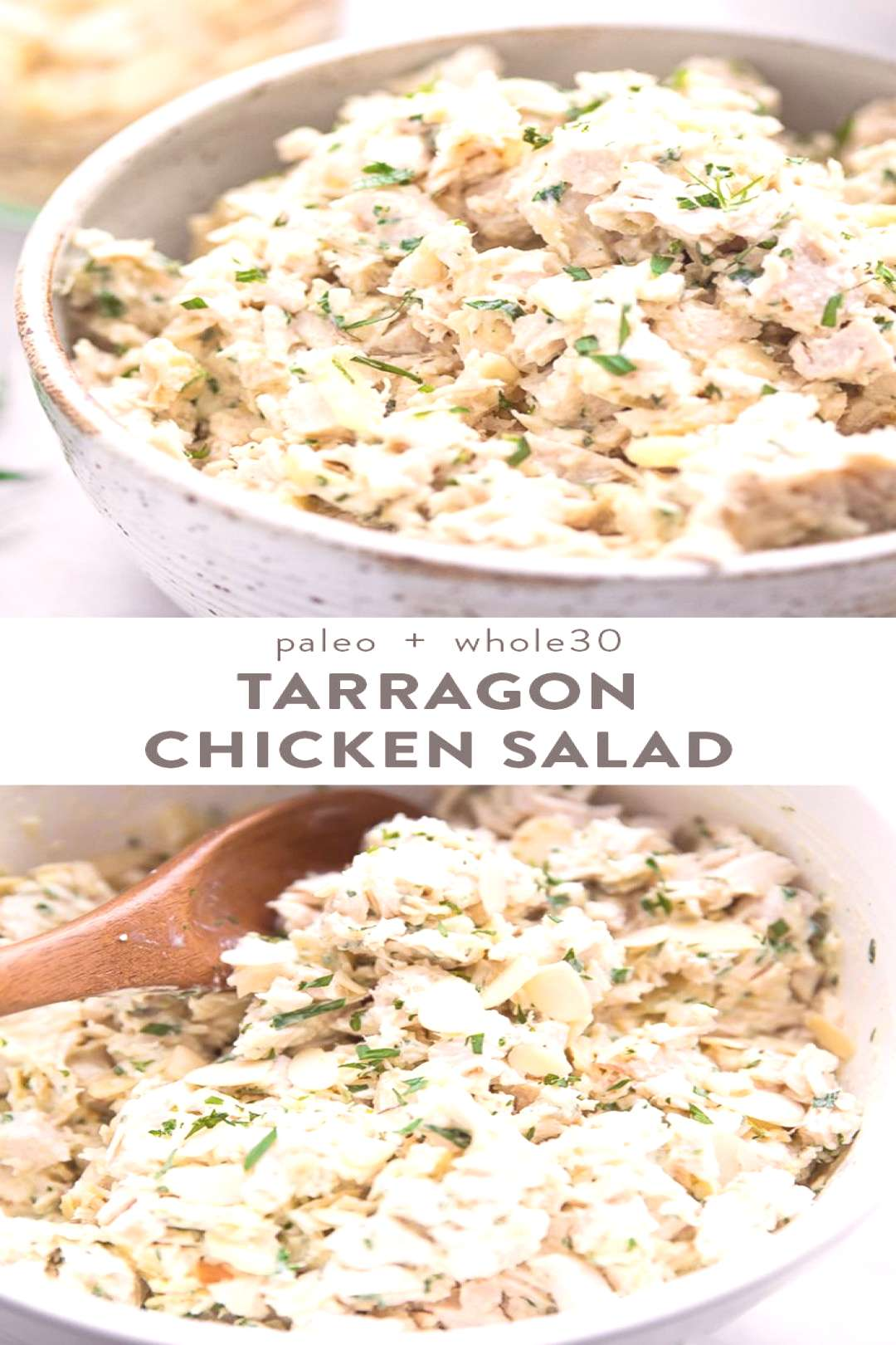 Tarragon Chicken Salad with Almonds -  This tarragon chicken salad with almonds is absolutely delic