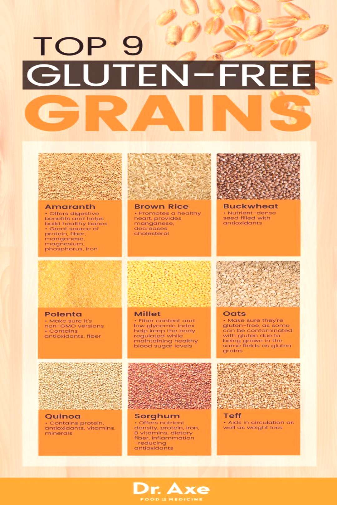 Top 9 Gluten-Free Grains Eat these and your digestive system will thank you! -  Top 9 Gluten-Free G