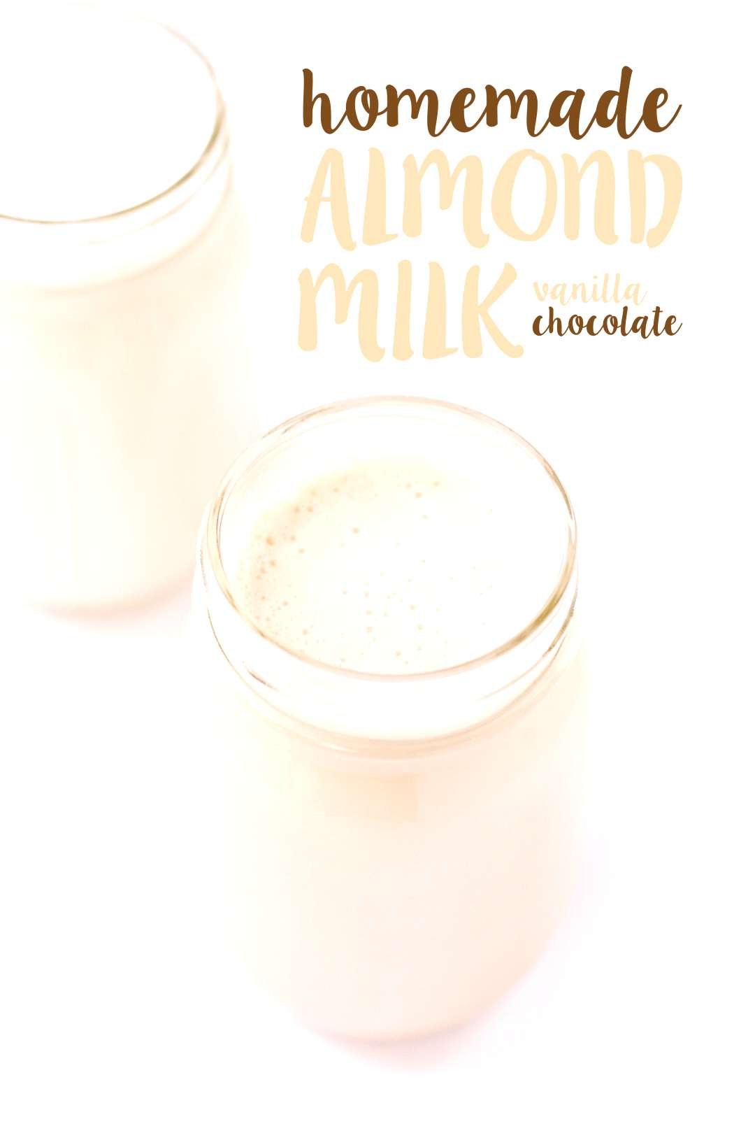 Vanilla + chocolate almond milks made at home in minutes using simple, wholesome ingredients. You'l
