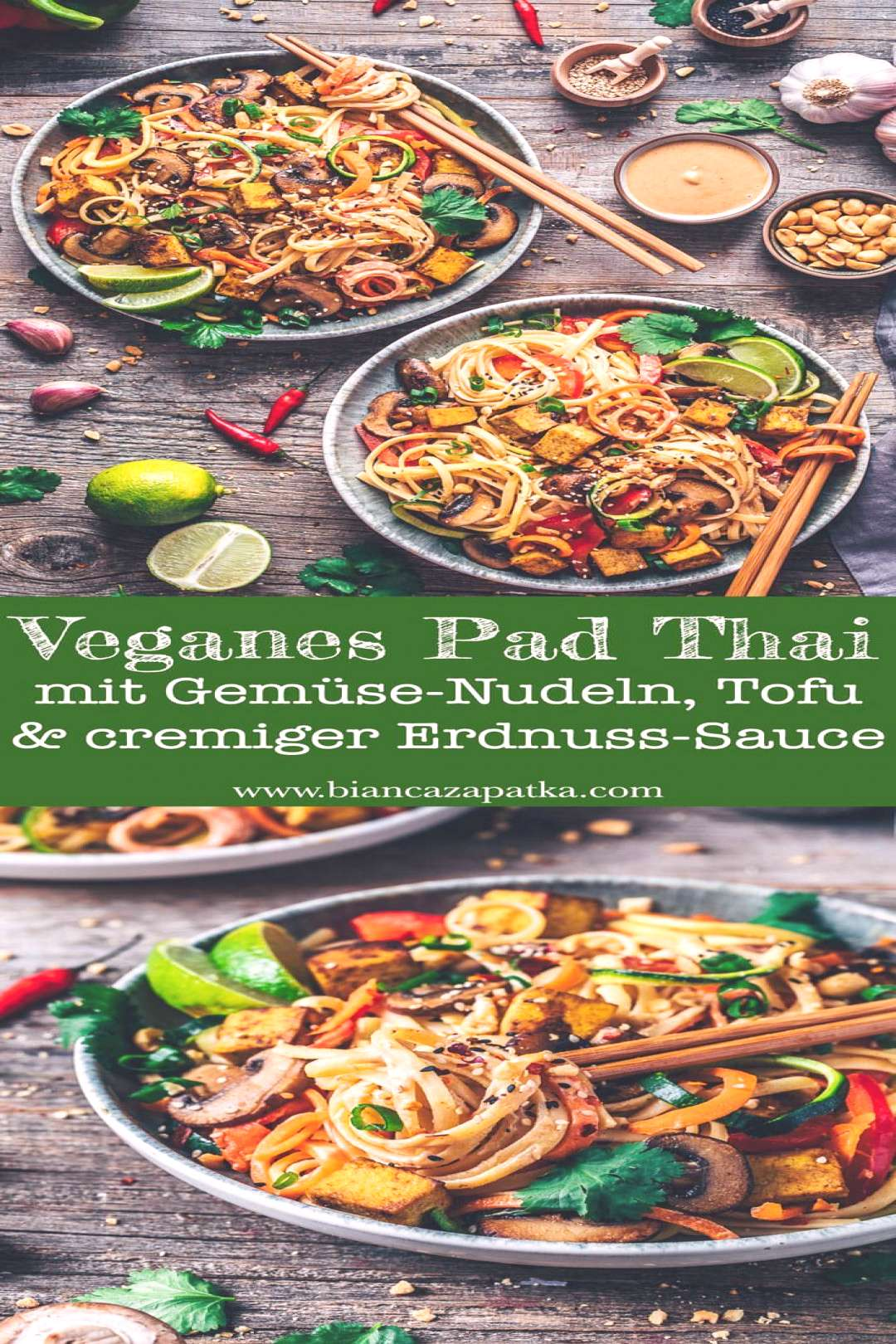 Vegan Pad Thai with vegetable noodles & tofu - Bianca Zapatka | Recipes -  Pad Thai with crispy tof
